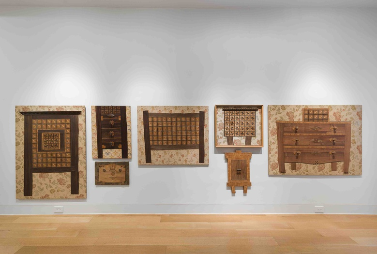Enrico Baj, installation view of the Furniture